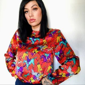 Tops - Red Silky Horse Print Blouse 🐎 Vintage 80s Top SM